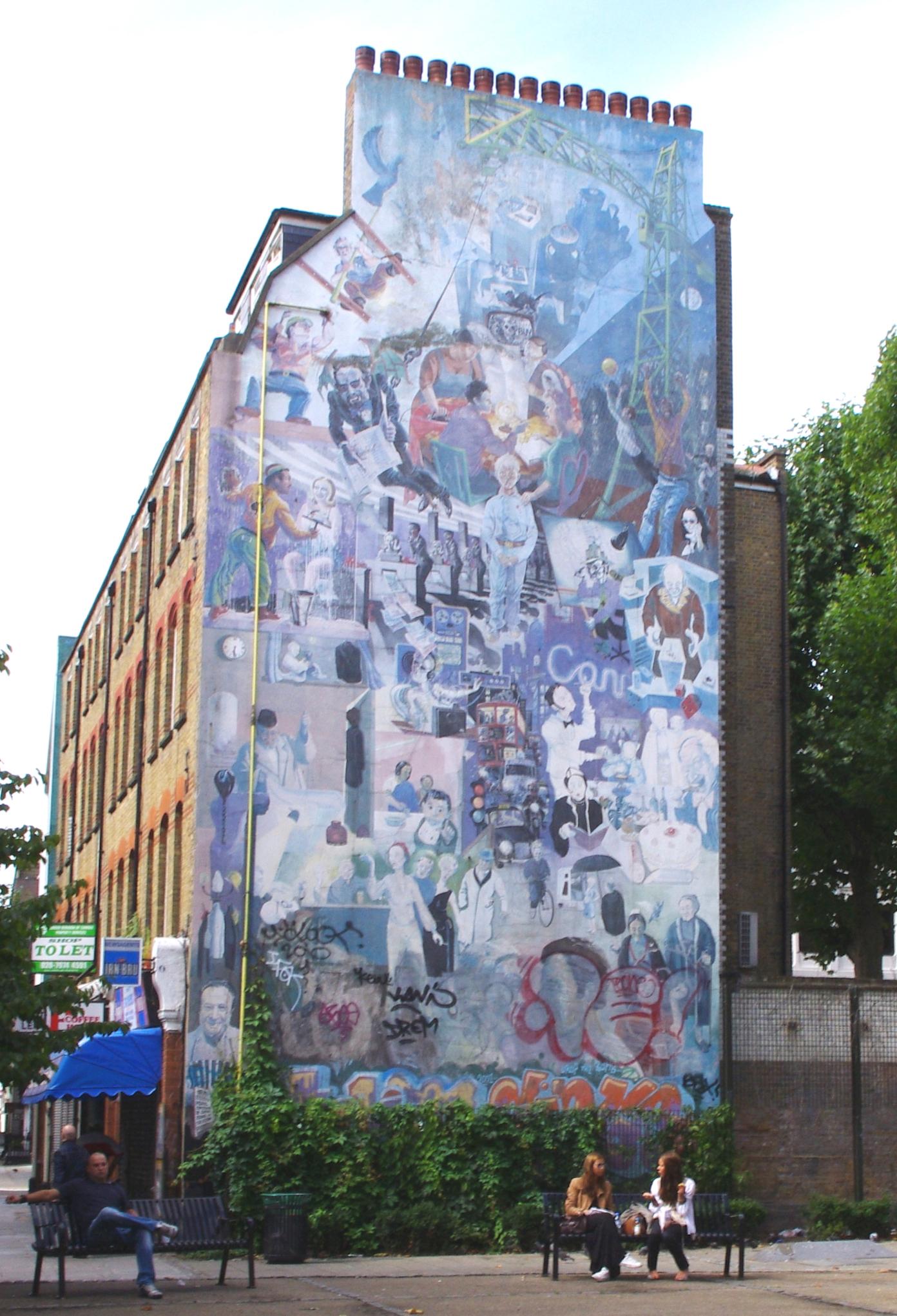 Fitzrovia Mural at Whitfield Gardens, Tottenham Court Road