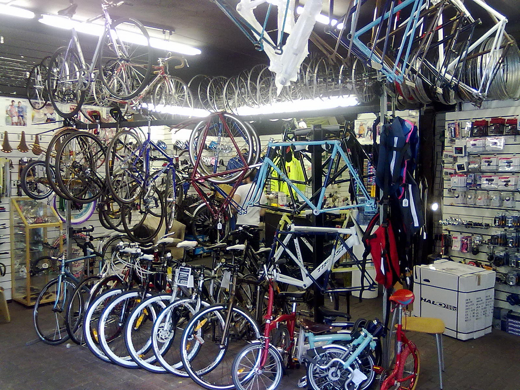 Bicycle barricade. Fitzrovia Bicycles is now being run by the proletariat who believe they can not only do a much better job than the prevous bourgeois owner but they will no longer will they be alienated from the fruit of their labour. Picture: Victoria Pendleton