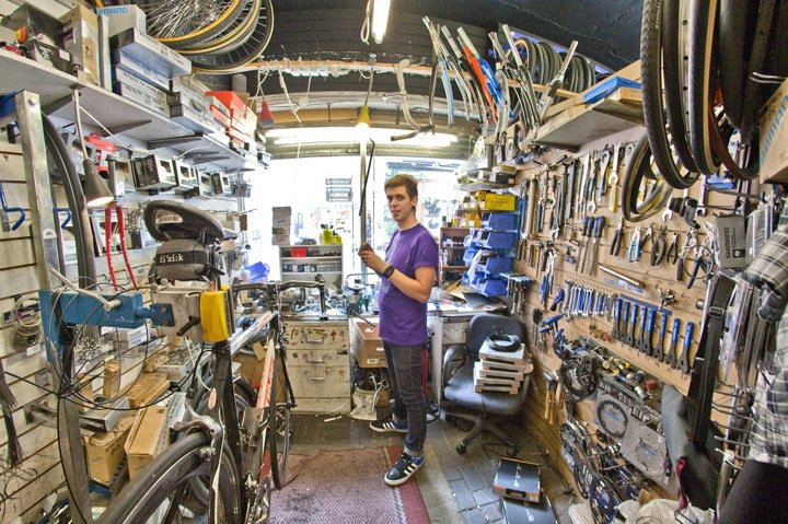 Tools of the trade. Alex surverys his domain