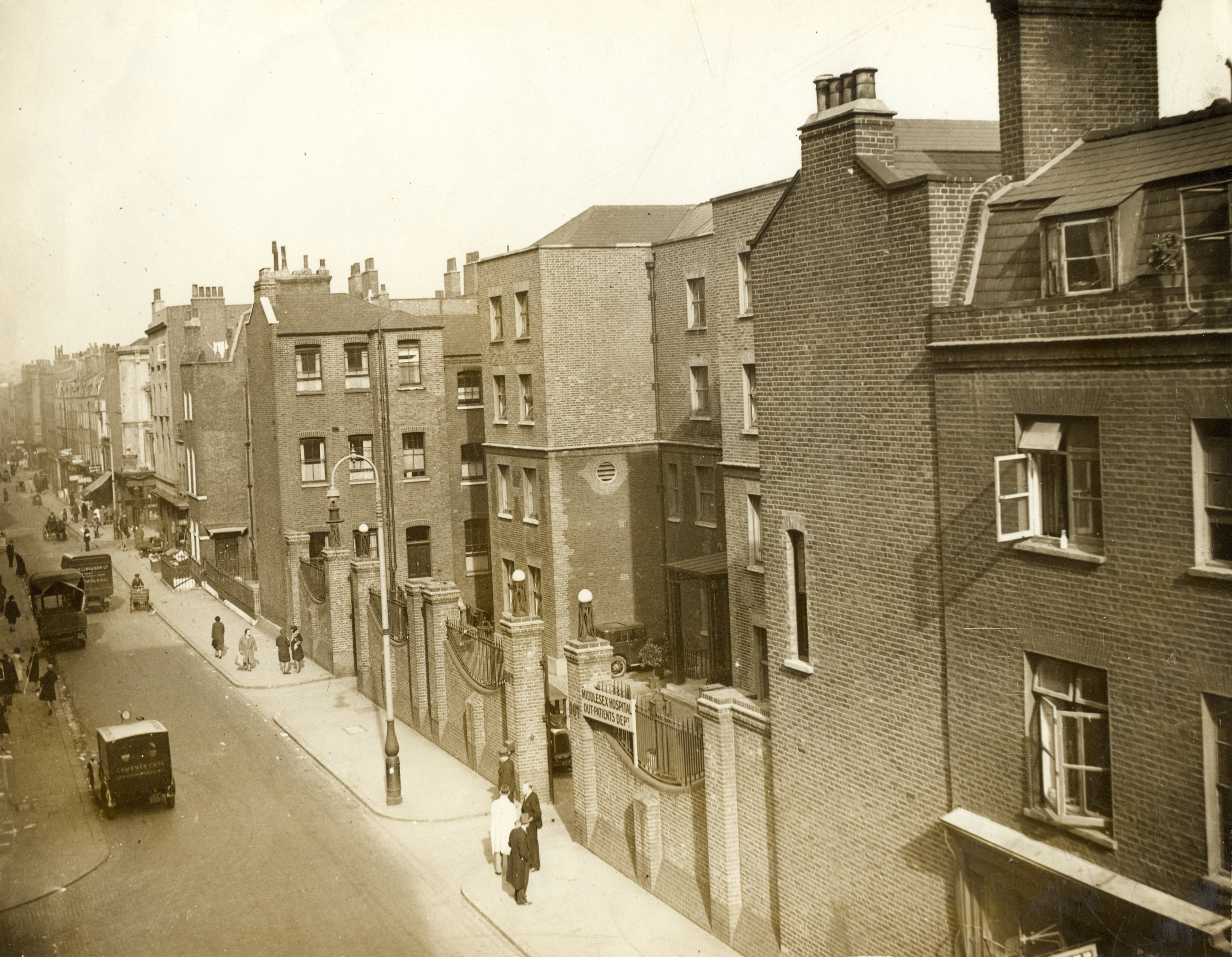View of Cleveland Street in the 1930s. The workhouse is in the middle of the picture. Source: Wikimeda Commons