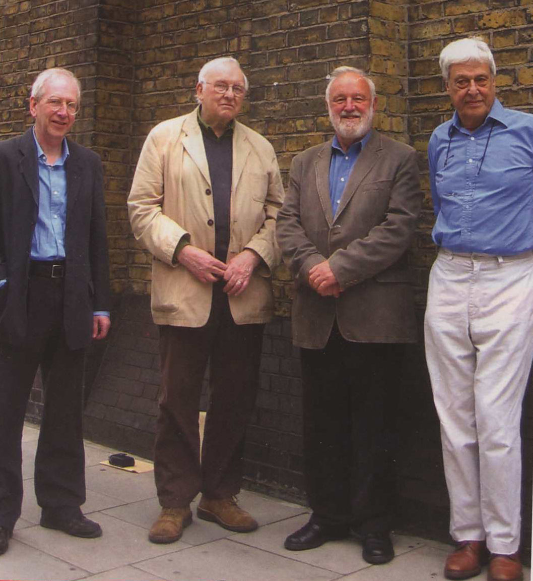 Bertie Dinnage (second from left) with friends (from left) Clive Henderson, Frank Dobson MP and Max Neufeld.