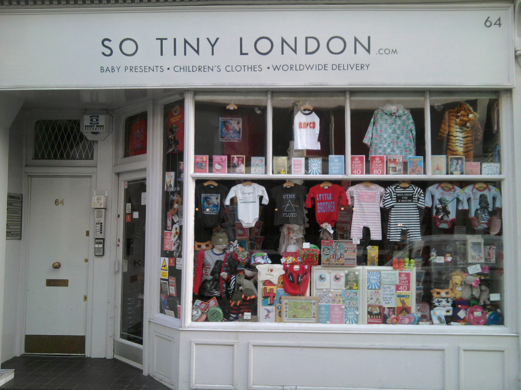 Shop front with baby clothes.