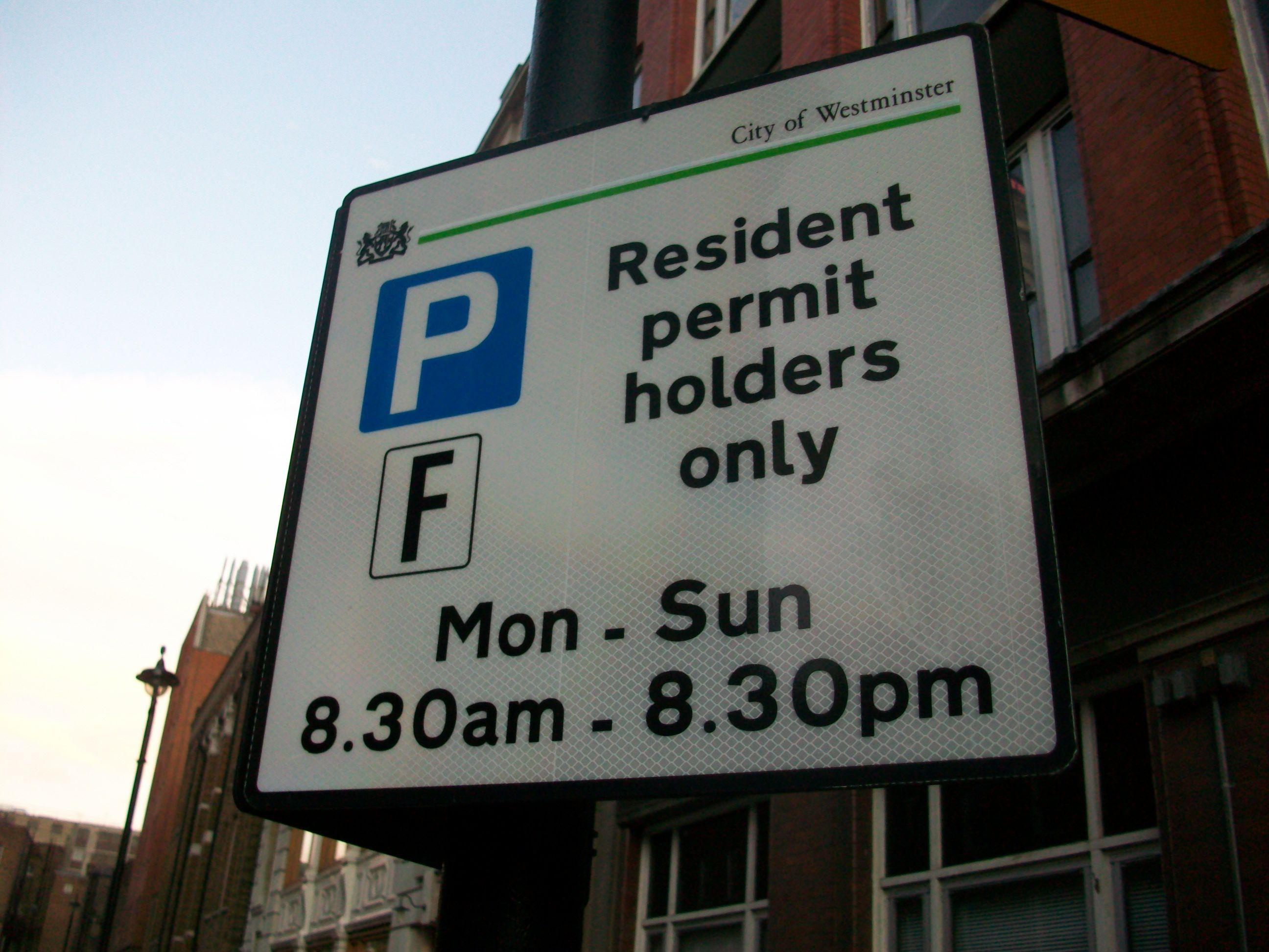 Resident parking sign.