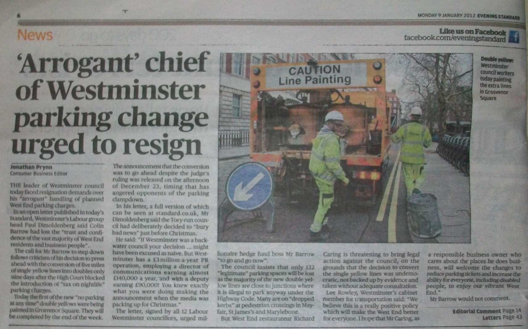 Page from Evening Standard newspaper