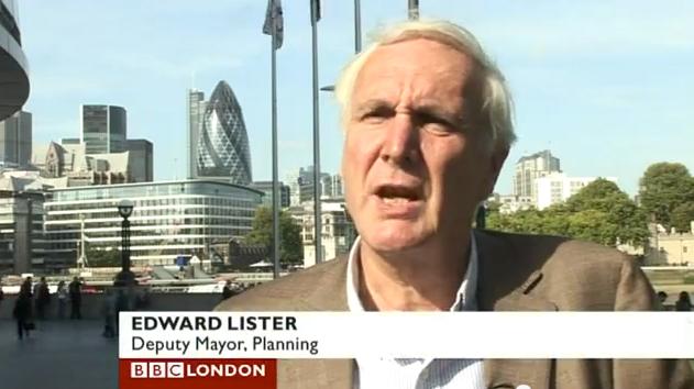 Sir Edward Lister speaking on BBC London.