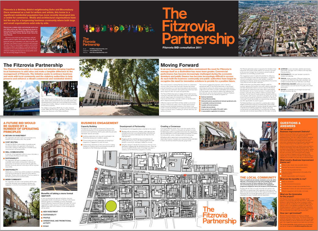 Picture of Fitzrovia Partnership engagement brochure 2011.