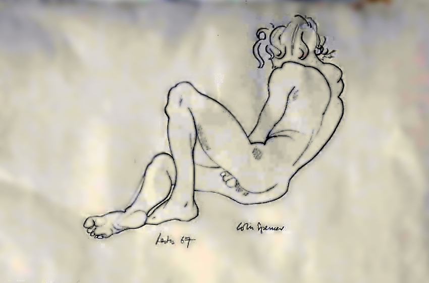 Pencil drawing of young man.