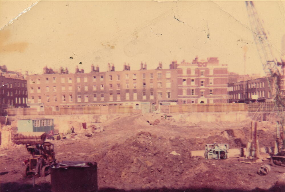 Demolition site before building of Holcroft Court.