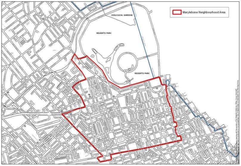 Map of Marylebone neighbourhood area.