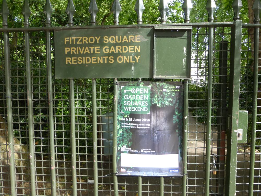Fitzroy Square Private Garden, residents only.