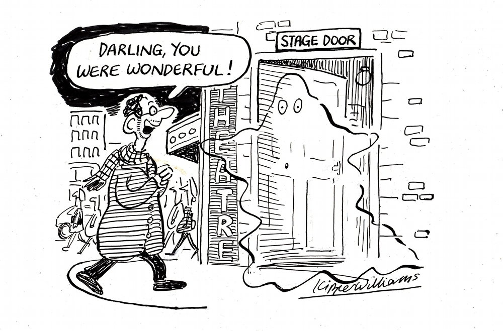 """Cartoon of man saying """"Darling, you were wonderful!"""" to ghost at stage door."""