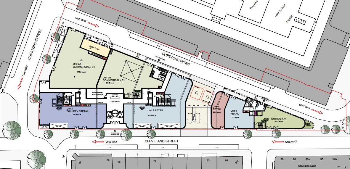 Ground floor plan of site.