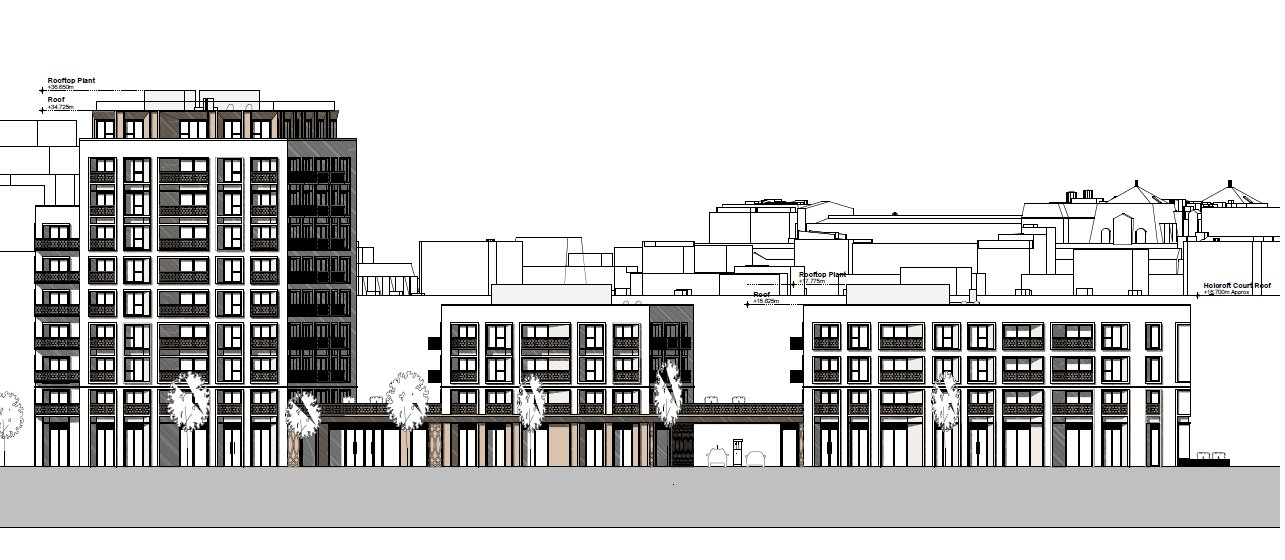 Scale drawing of mixed-use development.