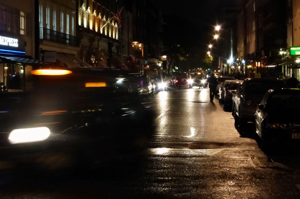 Charlottte Street at night.