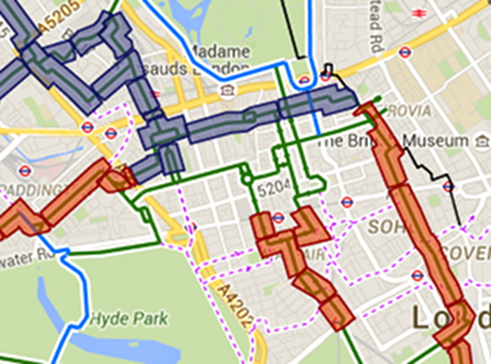 Map of proposed cycle routes.