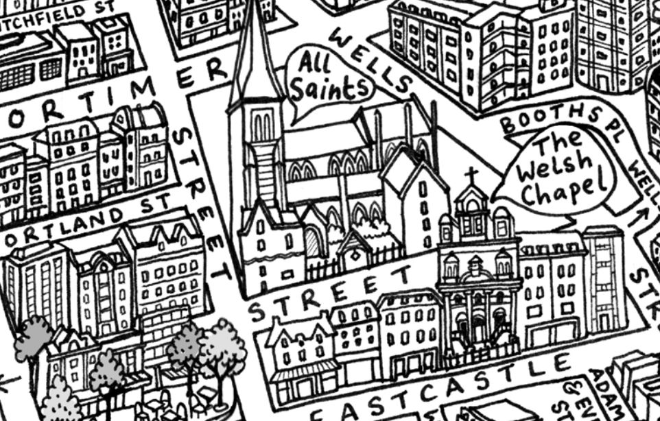 Hand drawn map of streets.