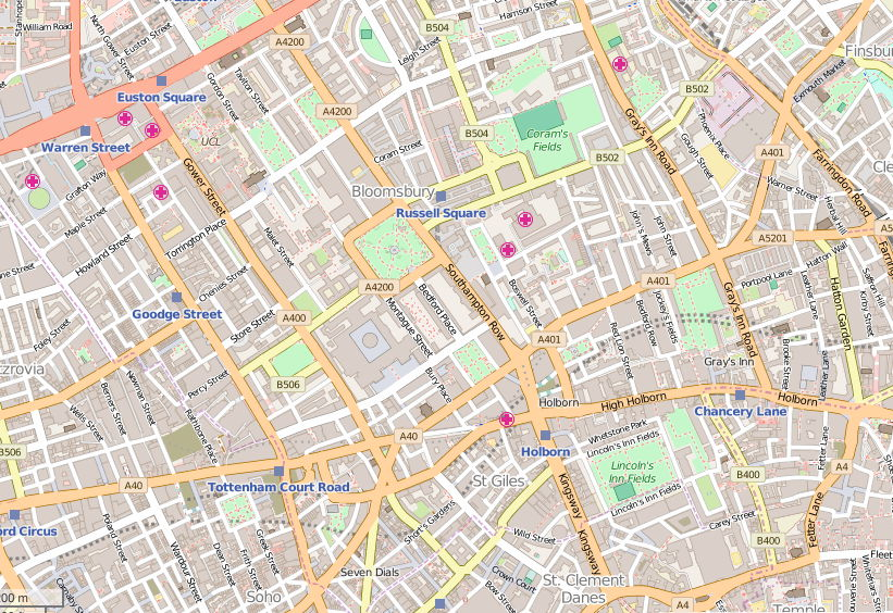 Map of south Camden in central London.