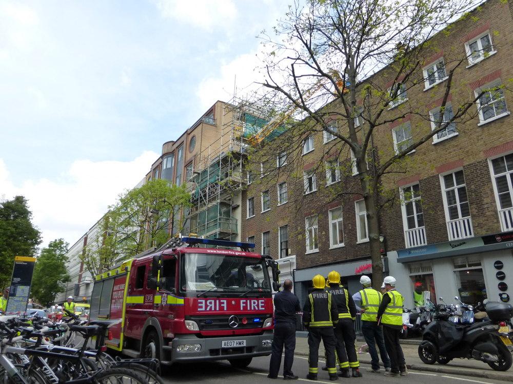 Fire engine in street.