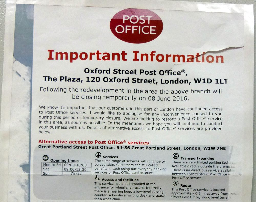 Post Office closure notice.