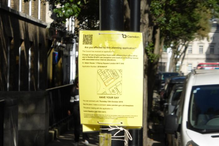 Planning application site notice.