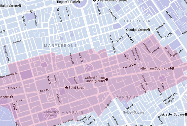 Map of Oxford Street and surrounding area.