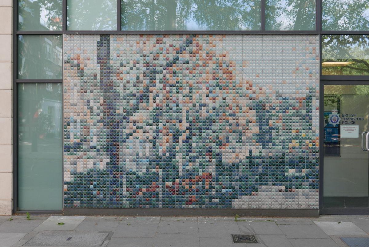 Mosaic on wall.