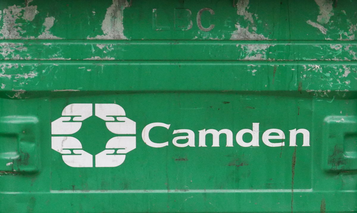 Green bin with Camden Council logo.