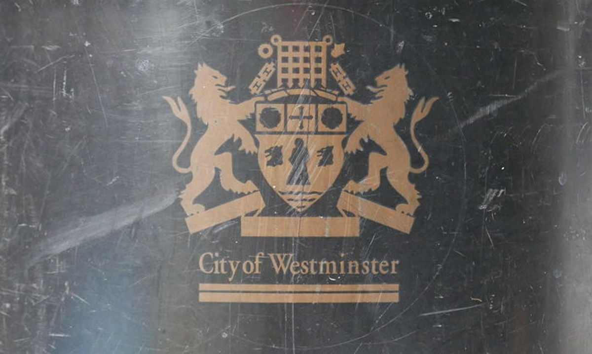 City of Westminster emblem on bin.