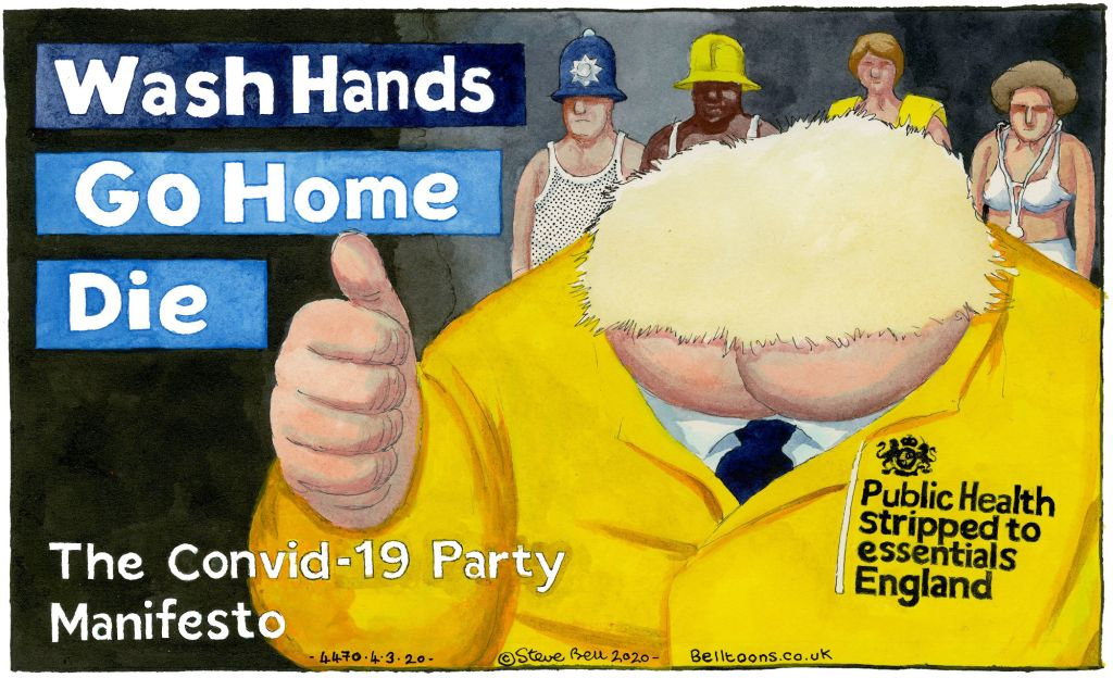 """Caricature image of Boris Johnson giving a """"thumbs up"""" with his government's response to Covid-19. The message says: Wash Hands, Go Home, Die."""