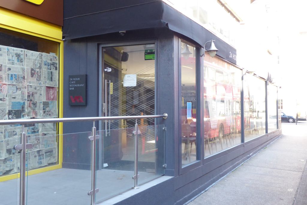 Entrance to VQ 24 hour cafe, restaurant and bar at Great Russell Street.