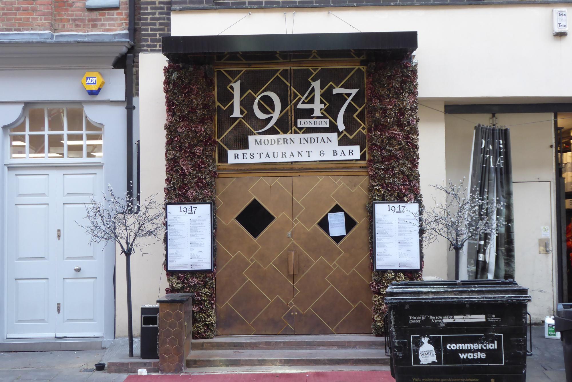 Entrance to restaurant in Rathbone Street.