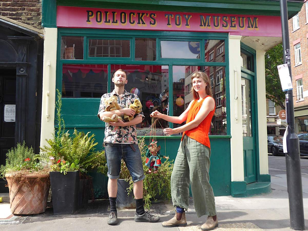 Jack Fawdry and Emily Baker outside Pollock's Toy Museum.