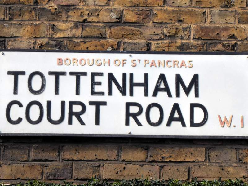 Tottenham Court Road, St Pancras street sign.