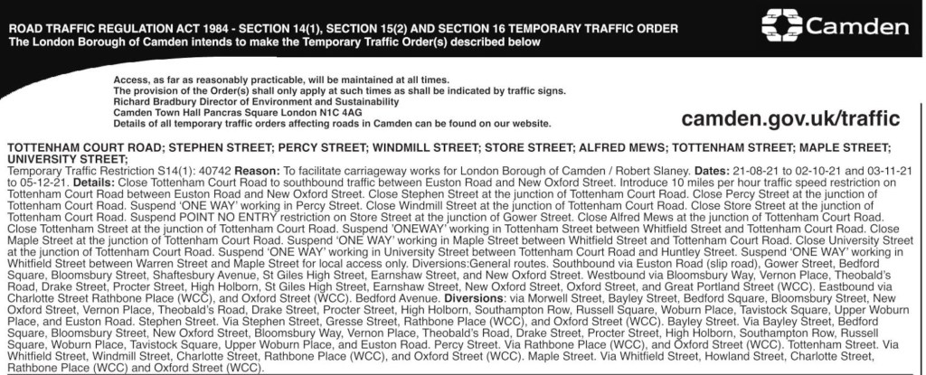 Temporary traffic orders in the Tottenham Court Road area.