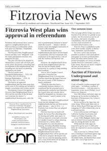 Front page of Fitzrovia News, September 2021.
